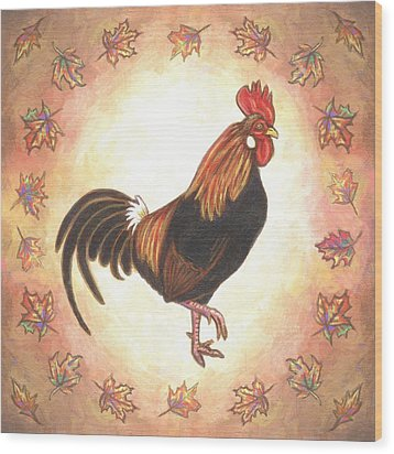 Roy The Rooster Two Wood Print by Linda Mears