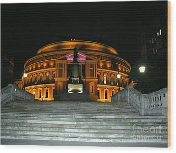 Royal Albert Hall At Night Wood Print by Bev Conover
