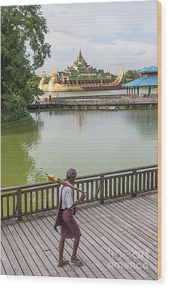 Royal Barge In Yangon Myanmar  Wood Print