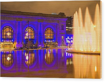 Royal Blue Reflections Union Station Wood Print