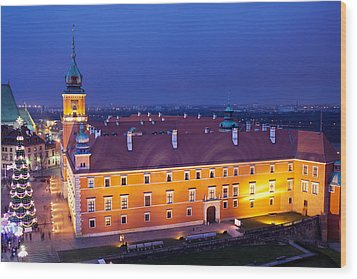 Royal Castle In Warsaw At Night Wood Print by Artur Bogacki