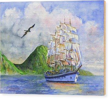 Royal Clipper Leaving St. Lucia Wood Print by John D Benson