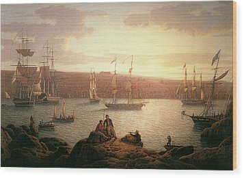 Royal Naval Vessels Off Pembroke Dock Hilford Haven Wood Print by Robert Salmon