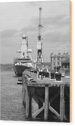 Royal Navy Docks And Hms Defender Wood Print