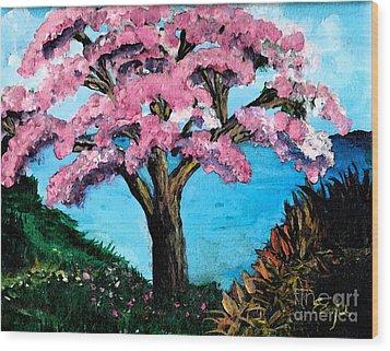 Royal Pink Poinciana Tree Wood Print by Ecinja Art Works