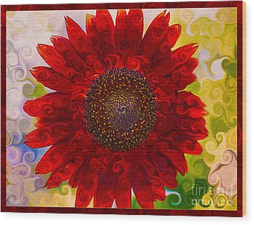 Royal Red Sunflower Wood Print