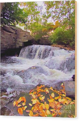 Royal River White Waterfall Wood Print