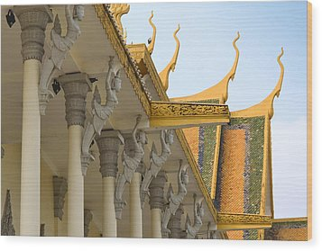Royal Roof Cambodia Wood Print by Bill Mock
