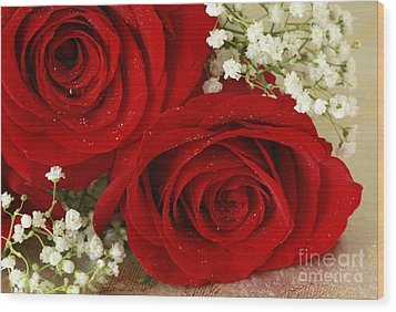 Royal Velvet Roses Wood Print by Inspired Nature Photography Fine Art Photography