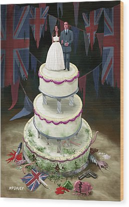 Royal Wedding 2011 Cake Wood Print by Martin Davey