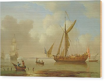 Royal Yacht Becalmed At Anchor Wood Print by  Peter Monamy
