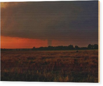 Wood Print featuring the photograph Rozel Tornado On The Horizon by Ed Sweeney