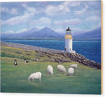Wood Print featuring the painting Rubh An Duin Lighthouse Scotland by Fran Brooks