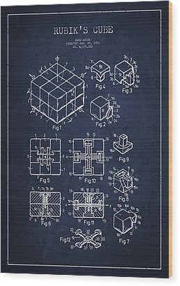 Rubiks Cube Patent Wood Print by Aged Pixel