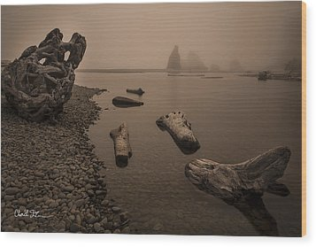 Ruby Beach Fog Wood Print