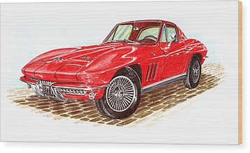 Ruby Red 1966 Corvette Stingray Fastback Wood Print by Jack Pumphrey