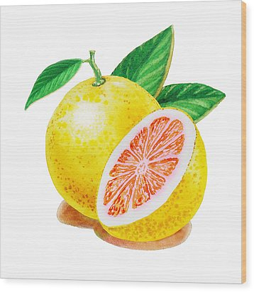 Ruby Red Grapefruit Wood Print by Irina Sztukowski