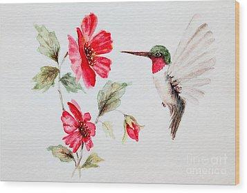 Ruby Red Hummingbird Wood Print by Pattie Calfy