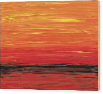 Ruby Shore - Red And Orange Abstract Wood Print by Sharon Cummings