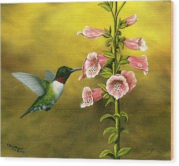 Ruby Throated Hummingbird And Foxglove Wood Print