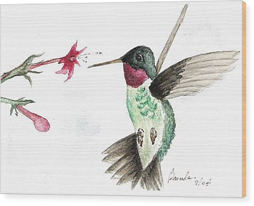 Ruby Throated Hummingbird Wood Print by Brenda Ruark