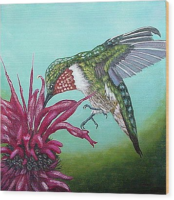 Wood Print featuring the painting Ruby-throated Hummingbird by Fran Brooks