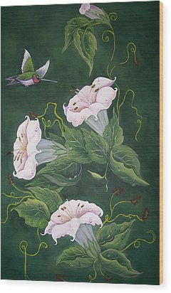 Wood Print featuring the painting Hummingbird And Lilies by Sharon Duguay