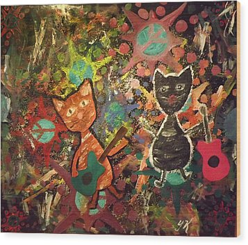 Rudy And Sketch Electric Cats Wood Print by Yvonne  Kroupa