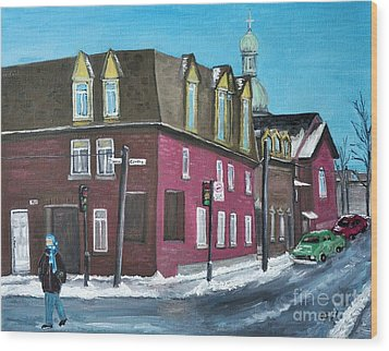 Rue Centre Pte St Charles Wood Print by Reb Frost