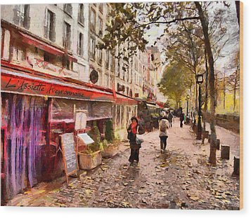 Wood Print featuring the painting Rue Coquilliere In Paris by Kai Saarto