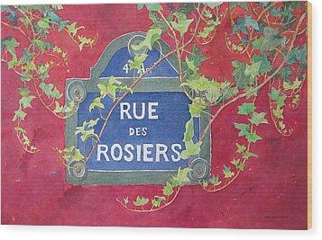Rue Des Rosiers In Paris Wood Print