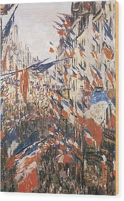 Rue Montorgeuil Decked With Flags Wood Print by Claude Monet
