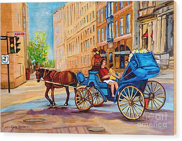 Wood Print featuring the painting Rue Notre Dame Caleche Ride by Carole Spandau