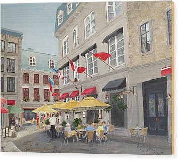 Rue Saint Amable Restaurant Wood Print by Marilyn Zalatan