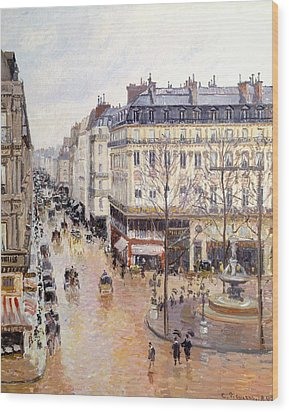 Rue Saint Honore Afternoon Rain Effect Wood Print by Camille Pissarro