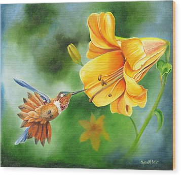 Wood Print featuring the painting Rufous Hummer And The Lily by Phyllis Beiser