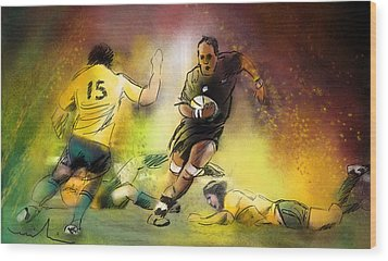 Rugby 01 Wood Print by Miki De Goodaboom