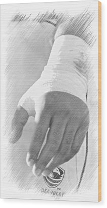 Rugby Hands Wood Print by Evan Premer