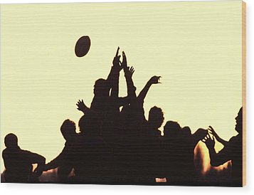 Rugby Line Out Wood Print
