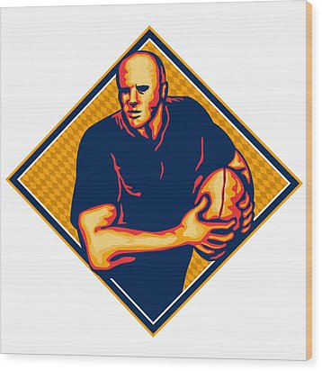Rugby Player Running Ball Retro Wood Print by Aloysius Patrimonio