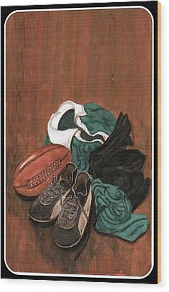 Rugby Wood Print by Sam Mart