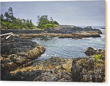 Rugged Coast Of Pacific Ocean On Vancouver Island Wood Print by Elena Elisseeva