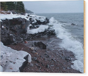 Rugged Shore Winter Wood Print by James Peterson