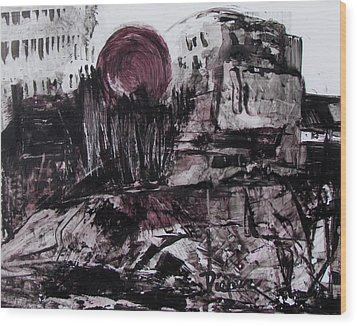 Ruins In Shades Of Gray  Wood Print by Betty Pieper