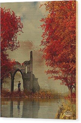 Ruins In Autumn Fog Wood Print by Daniel Eskridge