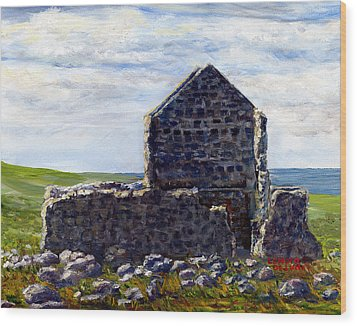 Ruins In Tasmania On The Sea Shore Wood Print by Lenora  De Lude