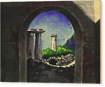 Wood Print featuring the painting Ruins by Salman Ravish