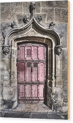 Ruins With Red Door Wood Print by Evie Carrier