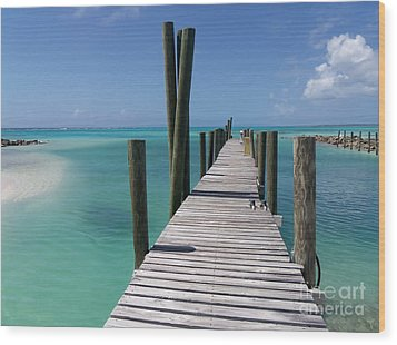 Wood Print featuring the photograph Rum Cay Marina Jetty In Bahamas by Jola Martysz