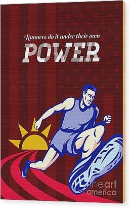 Runner Running Power Poster Wood Print by Aloysius Patrimonio